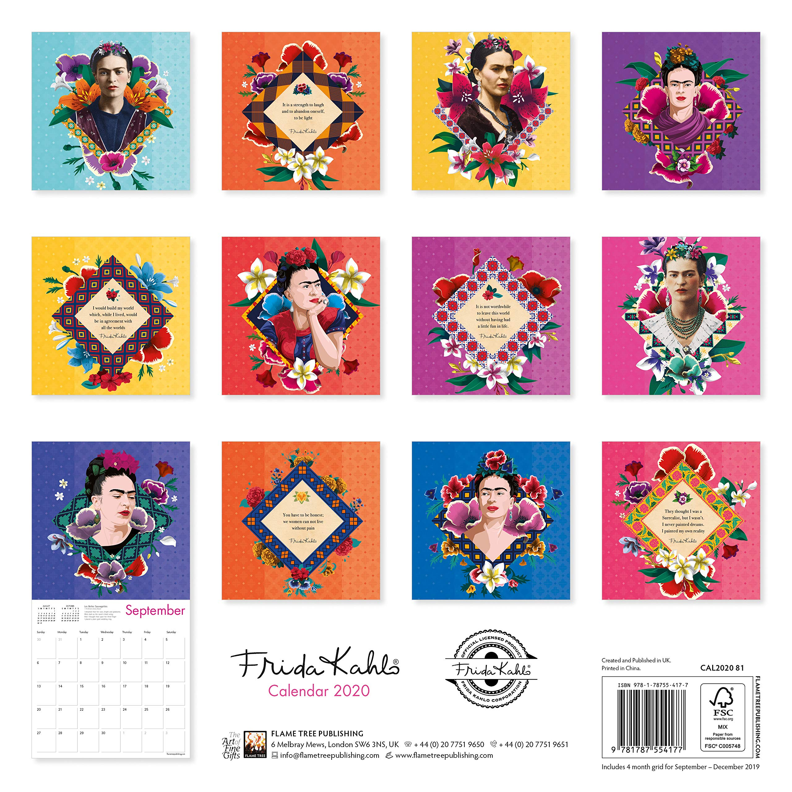Frida Kahlo Wall Calendar 2020 (Art Calendar): Flame Tree ...
