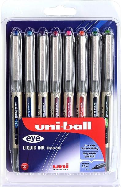 comprar Bolígrafos UB-157 Eye Fine, varios colores, tinta Uni Super Ink, punta de 0,7mm. Paquete de 8 unidades