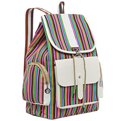 15.5 Inch Multicolor Striped Fashion Drawstring Backpack Girls School Book Bag
