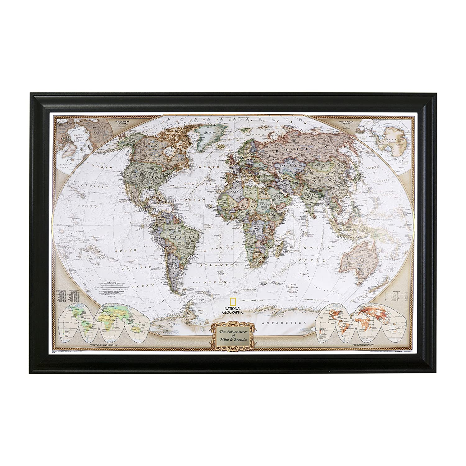 Executive World Push Pin Travel Map with Textured White Frame and Pins 24 x 36 Push Pin Travel Maps