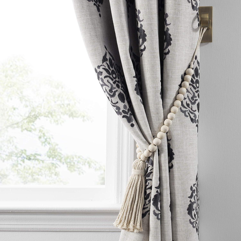 Elrene Home Fashions Nomad Decorative Wooden Fringe Tassel Window Curtain Tieback, White Wash