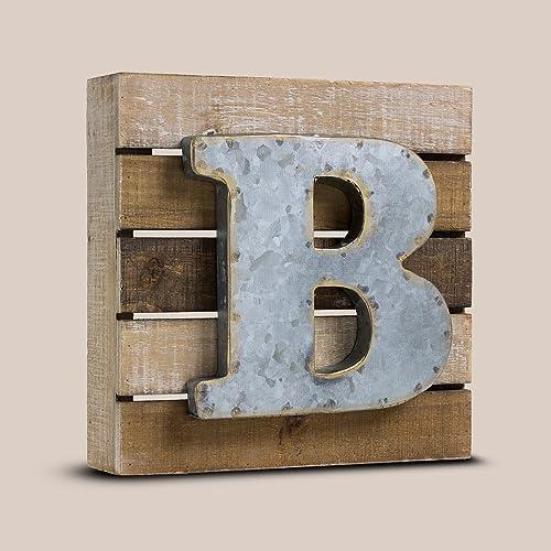American Art D cor Metal on Wood Letter Block B Rustic Farmhouse Decor