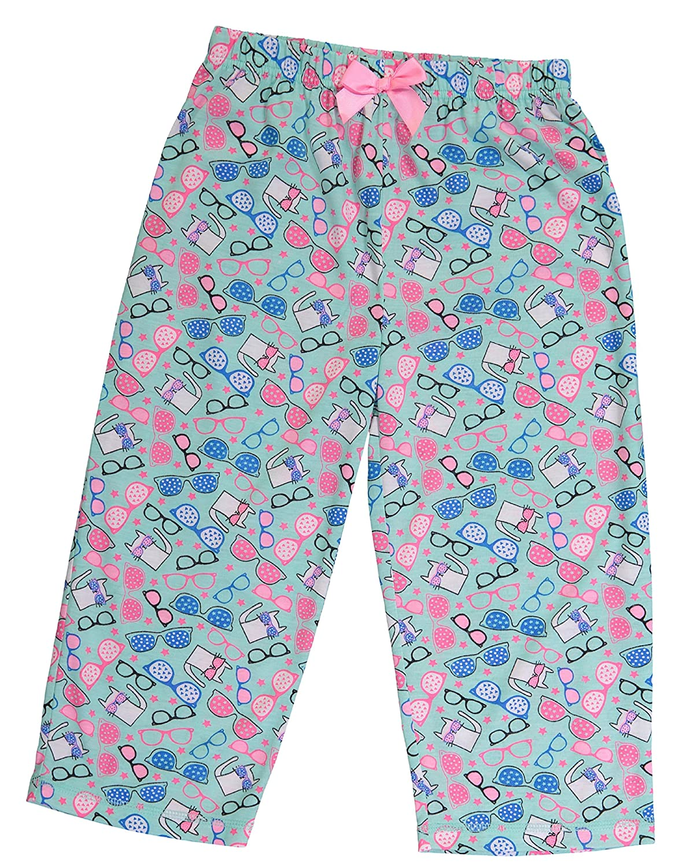Girls Sleepwear Short Sleeve Ringer Tee Shirt /& Capri Pants Pajama Set