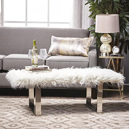 GDFStudio 301097 D Angelo Chic Faux Furry Ottoman White ,