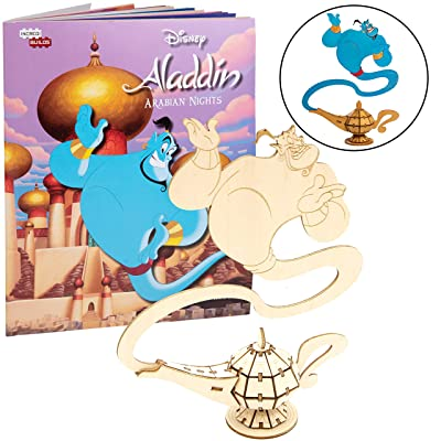 "Disney Aladdin Genie Book and 3D Wood Model Figure Kit - Build, Paint and Collect Your Own Wooden Model - Great for Kids and Adults, 8+ - 7.5"" h: Toys & Games"