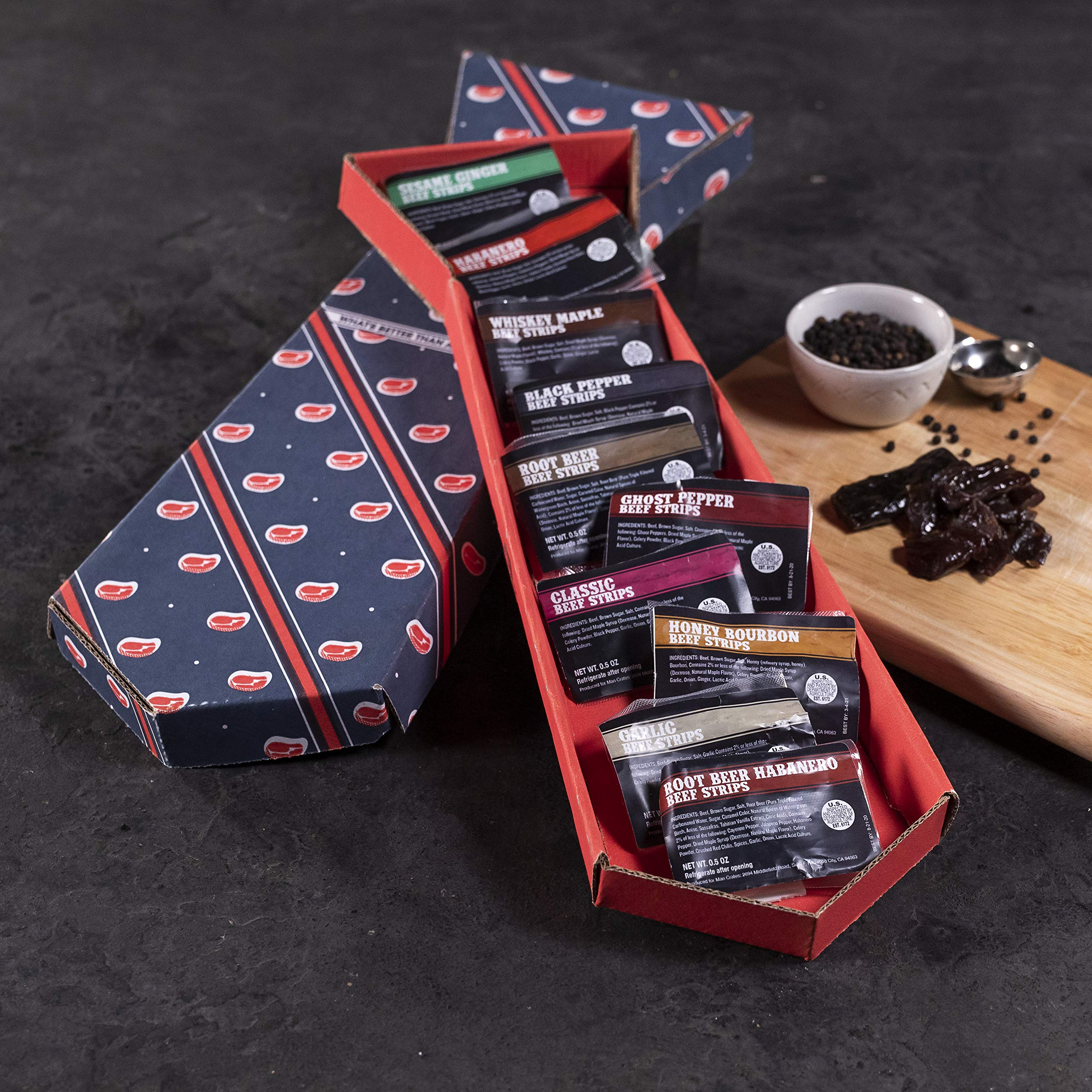 Man Crates Jerky Tie - Fun Gift For Men - Includes 10 Delicious Beef Jerky Flavors - In A Delightfully Surprising Tie-Shaped Box by Man Crates (Image #3)