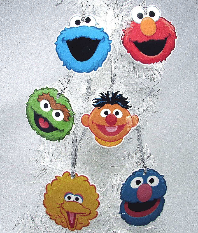 "Ornaments Sesame Street 6 Piece Christmas Tree Set Featuring Big Bird, Oscar The Grouch, Cookie Monster, Elmo, Grover, and Ernie Around 2"" Tall"