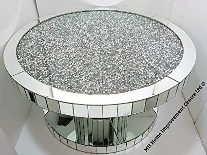 Mh Round Coffee Table Mirrored Sparkly Silver Diamond Crush