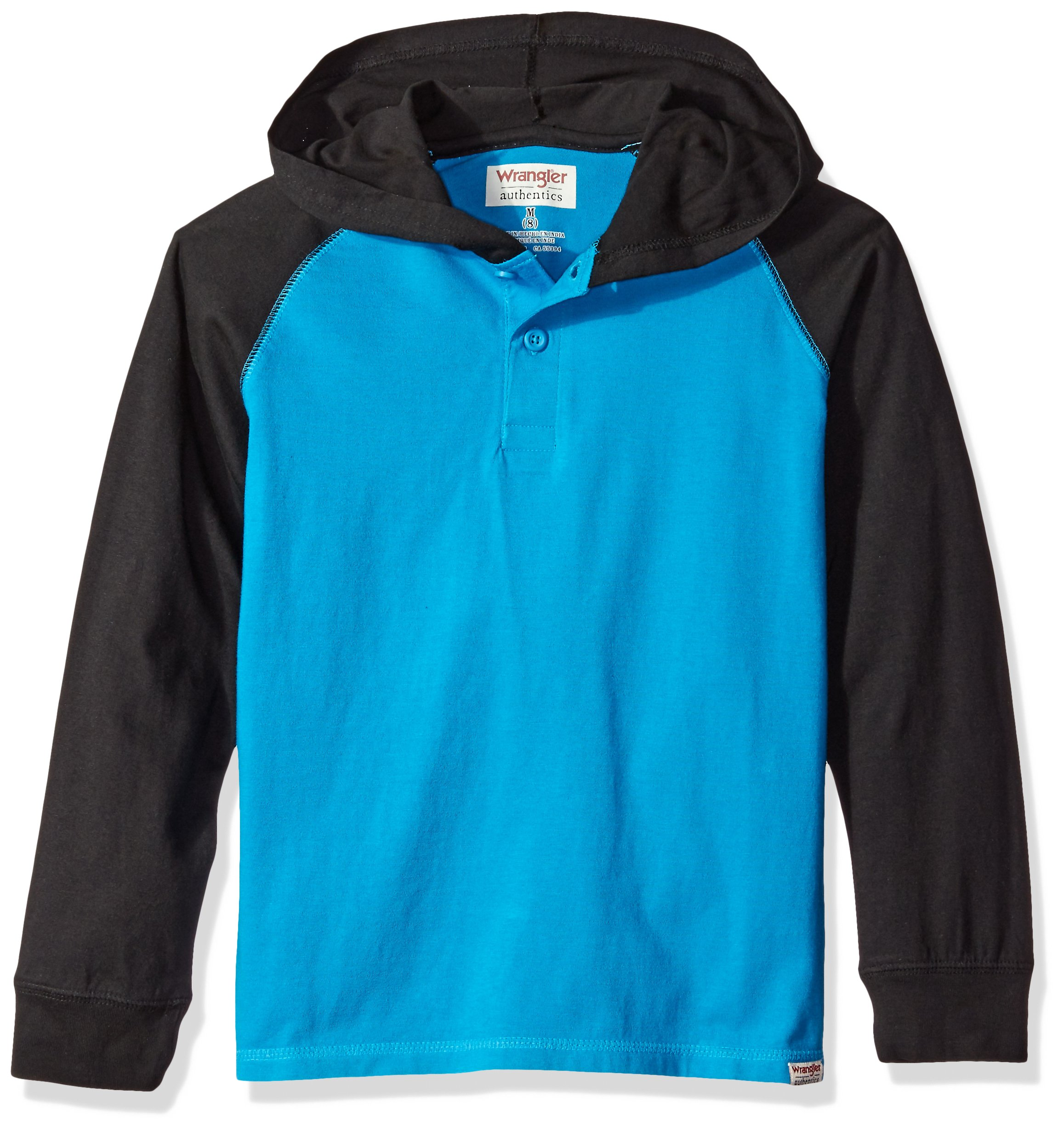 Wrangler Little Boys' Authentics Long Sleeve Hoodie, Turquoise/Black, Small