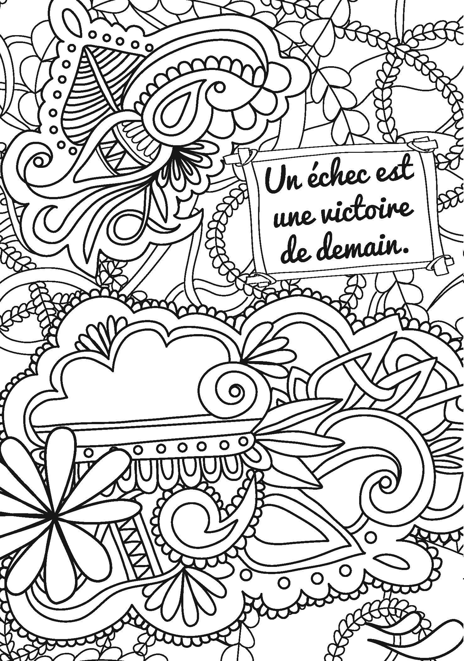 Coloriage anti stress avec citation - Image anti stress ...