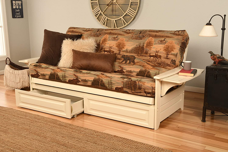 Phoenix Futon Sofa in Antique White Finish