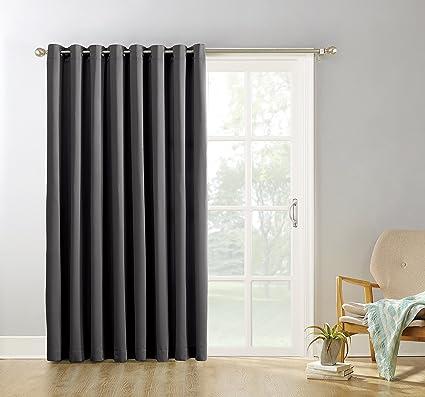 Sun Zero Easton Blackout Energy Efficient Curtain Panel,Charcoal  Gray,100u0026quot; X 84u0026quot