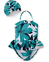 Hope & Henry Girls Onepiece Palm Print Swimsuit Set With Swim Cap