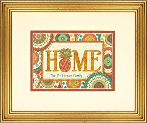 """Dimensions 'Pineapple Home' Counted Cross Stitch Kit, Personalized Family Name Cross Stitch Pattern, 14 Count Ivory Aida Cloth, 7"""" x 5"""""""