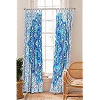 Handloom Palace Bohemian Mandala Hippie Blue Floral Cotton Window Curtains