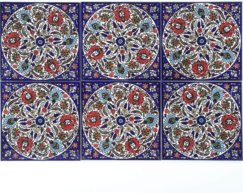 Orientalische Fliese handbemalte Keramikfliese Isa 5 14,8 x 14,8 cm Kunsthandwerk aus Pal/ästina Wandfliese f/ür sch/öne K/üche Dusche Badezimmer Dekoration FL8305