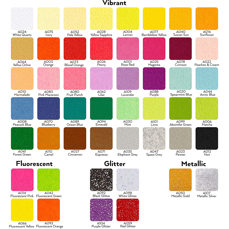 Set de 50 colores surtidos Tela de fieltro para patchwork Arteza Hojas de fieltro para manualidades Grosor 1 mm Tama/ño 30x35,56 cm