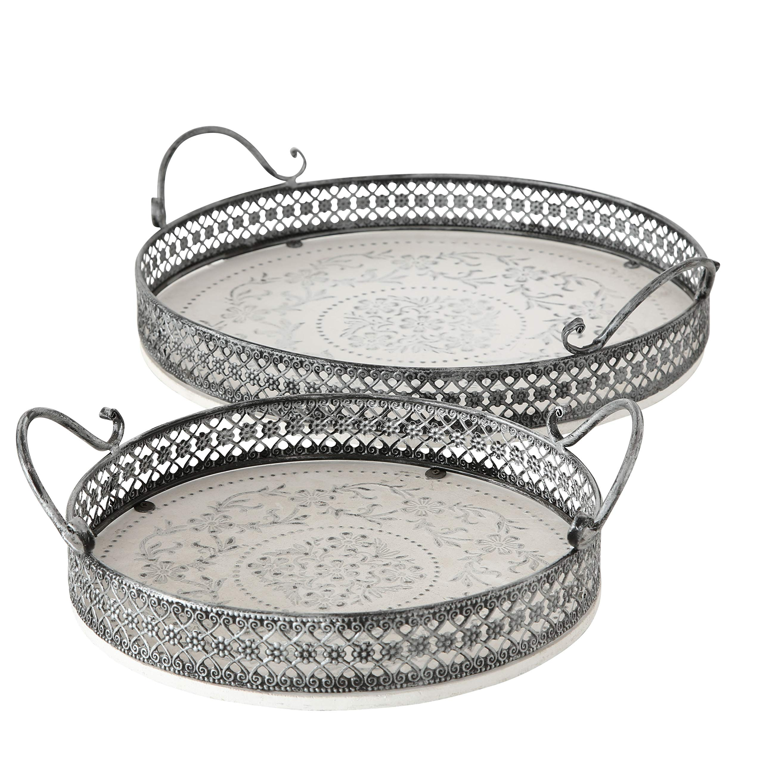 WHW Whole House Worlds Stockbridge Round Trays, Set of 2, Stenciled Floral Roundels, Rustic White with Gray Accents, Detailed Vintage Style Metal Work Rims, 14 1/2 and 11 Inches Diameter
