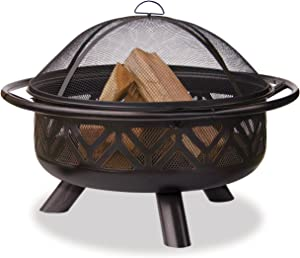 Uniflame WAD1009SP Oil Rubbed Outdoor Firebowl with Geometric Design