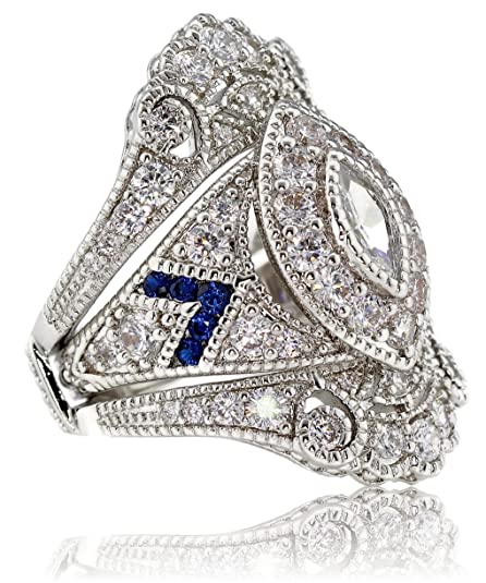 Victorian Costume Jewelry to Wear with Your Dress My Jewelry Passion Created Sapphire Marquise Two Piece Antique Vintage Victorian Style Estate Art Deco Bridal Engagement Wedding Ring Set $48.99 AT vintagedancer.com