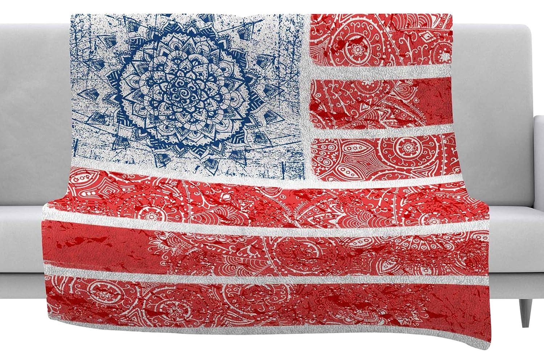 Kess InHouse Victoria Krupp Americana Mandala Flag Red Holiday Throw 40 x 30 Fleece Blanket