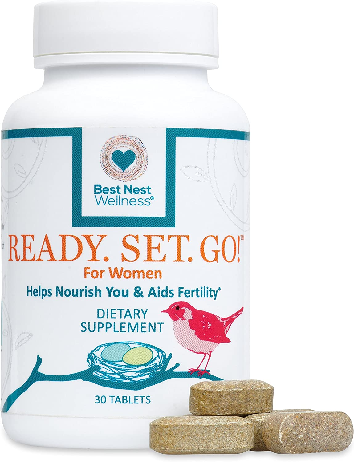 Ready. Set. Go Best Nest Fertility Formula for Women, Doctor Recommended, Methylfolate, Whole Food, Antioxidants, Herbal Fertility Blend Prenatal Nutrition, 30 Count
