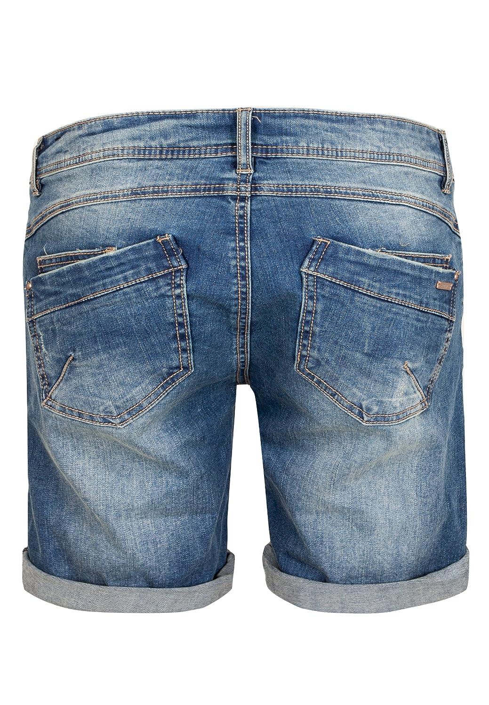 Sublevel Damen Bermuda mit Aufschlag 5 Pocket Jeans-Shorts Lockere Kurze Hose aus hochwertigen Denim