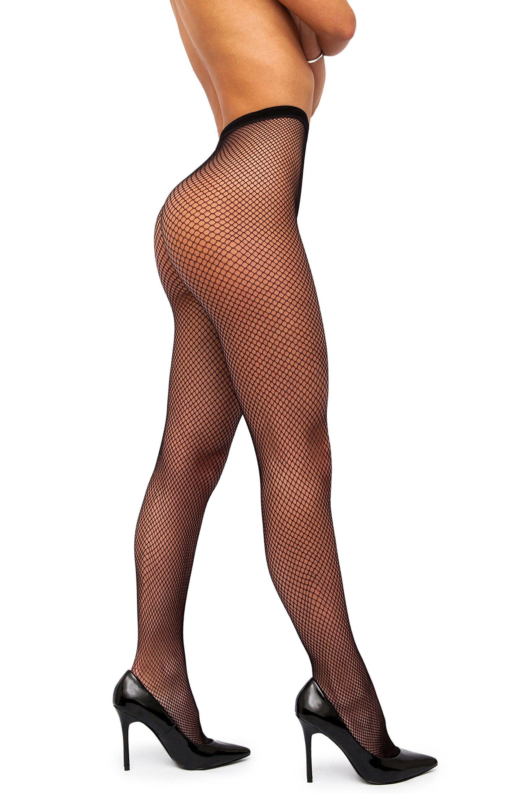 sofsy Fishnet Pantyhose Tights High Waist Nylon Stockings Net Lingerie Hosiery [Made In Italy] Black 1/2 - X-Small/Small