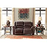 Ashley Furniture Signature Design - Yancy Reclining Loveseat - Manual Recliner Couch - Contemporary Style - Walnut