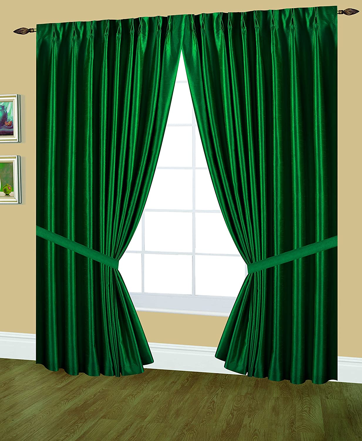 Editex Home Textiles Elaine Lined Pinch Pleated Window Curtain, 96 by 95-Inch, Evergreen