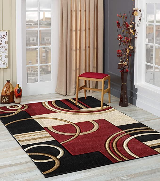 Glory Rugs Area Rug Modern 8x10 Dark Red Soft Hand Carved Contemporary Floor Carpet With Premium Fluffy Texture For Indoor Living Dining Room And Bedroom Area Home Kitchen Amazon Com