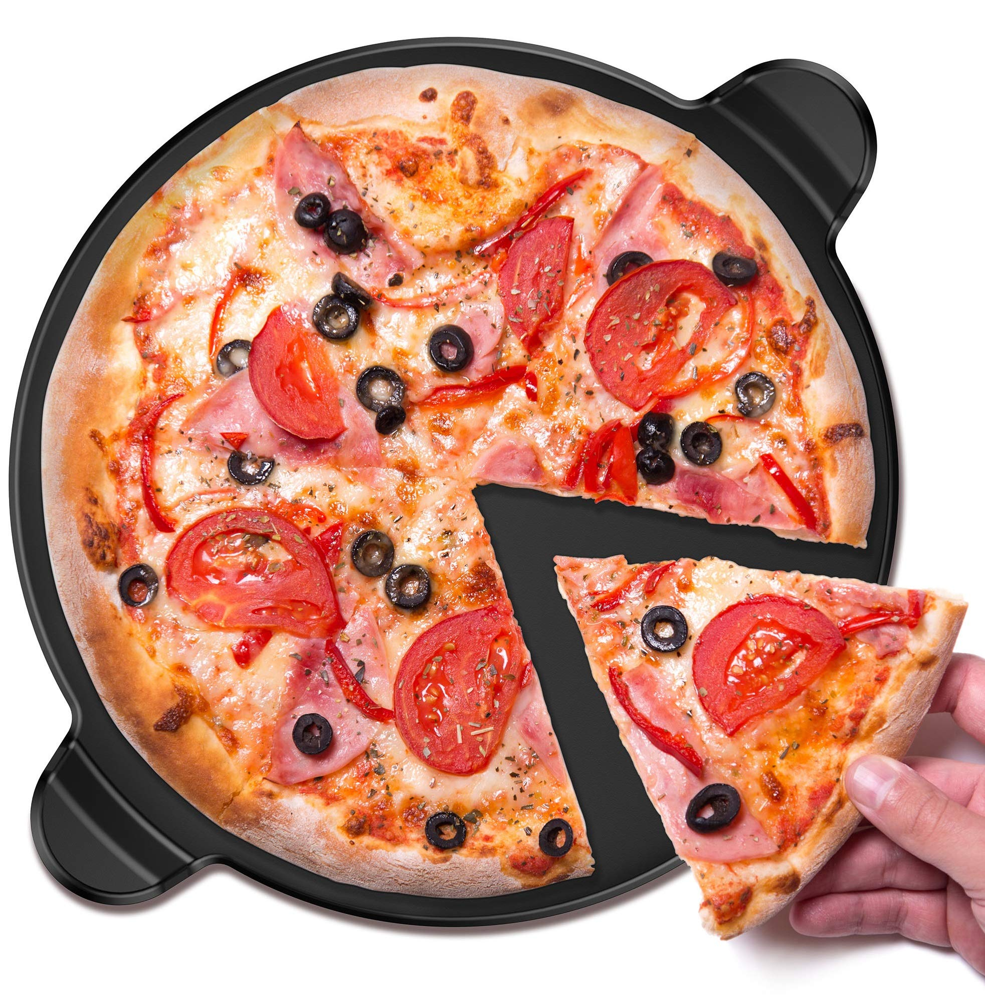 Vremi VRM020304N Ceramic Pizza Grill and Oven-Large Round 13 Inch Nonstick Baking Stone with Built-in Handles for Kitchen or Outdoor Barbeque-Thick Professional, Bread Stoneware for, Pies and Tarts
