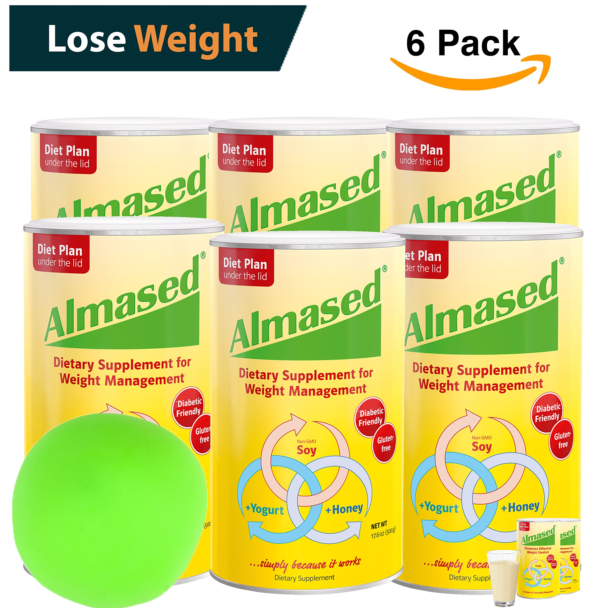 ALMASED® Diet Protein Powder - 6 Pack + Free Stress Balls. Weight Loss Protein Support - Optimal Maximum Health and Energy - Lose Weight and Keep the Weight Off - (17.6 ounce each)Almased®