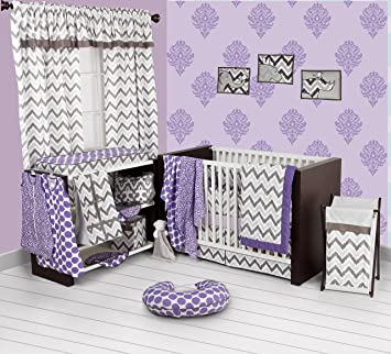 46a76ad45 Amazon.com : Bacati - Purple/Grey Ikat Chevron Muslin 10 Pc Crib Set with  Bumper Pad : Baby