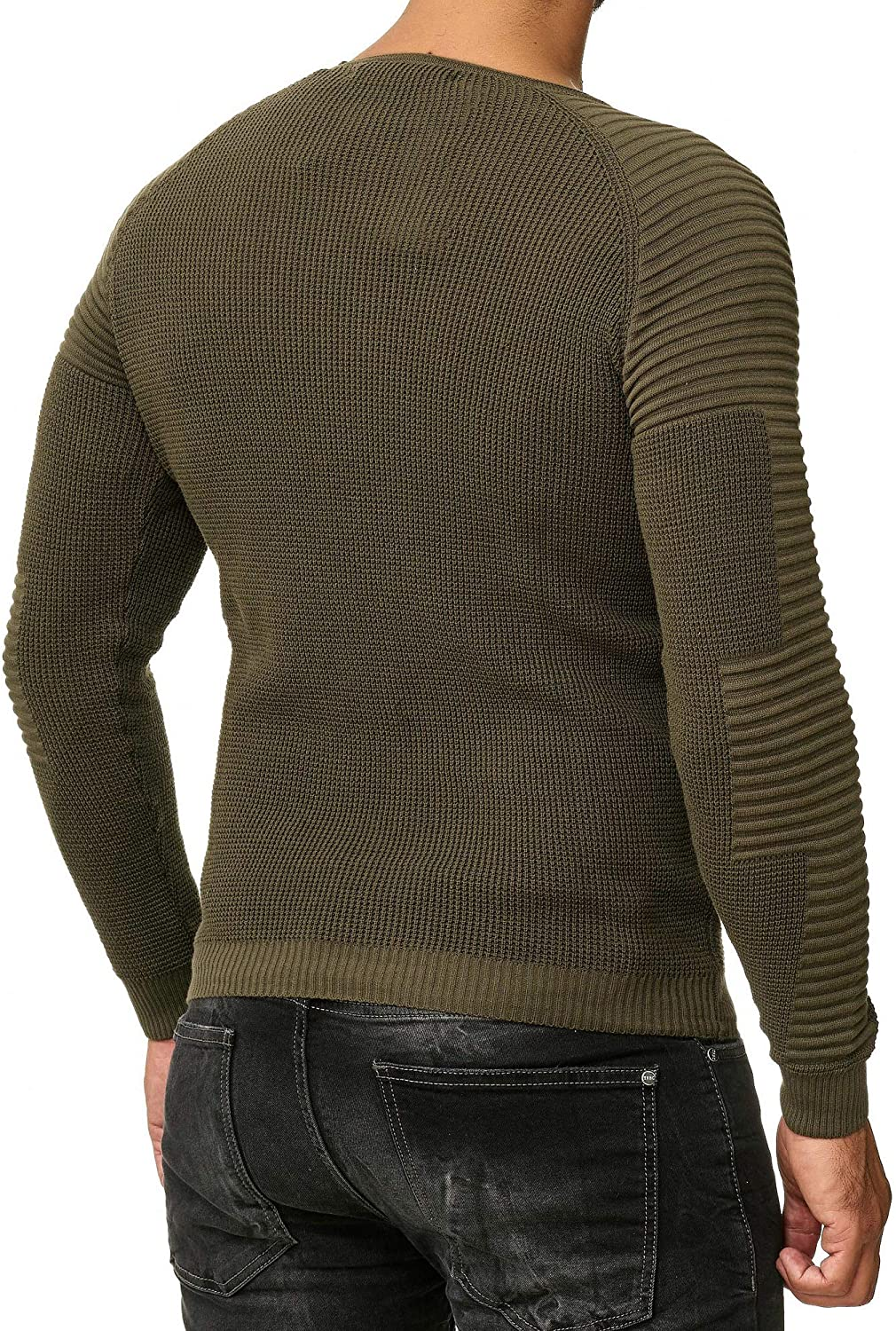 Red Bridge Mens Pullover Longsleeve Casual Jumper Ribbed Basic Line Knit Sweater