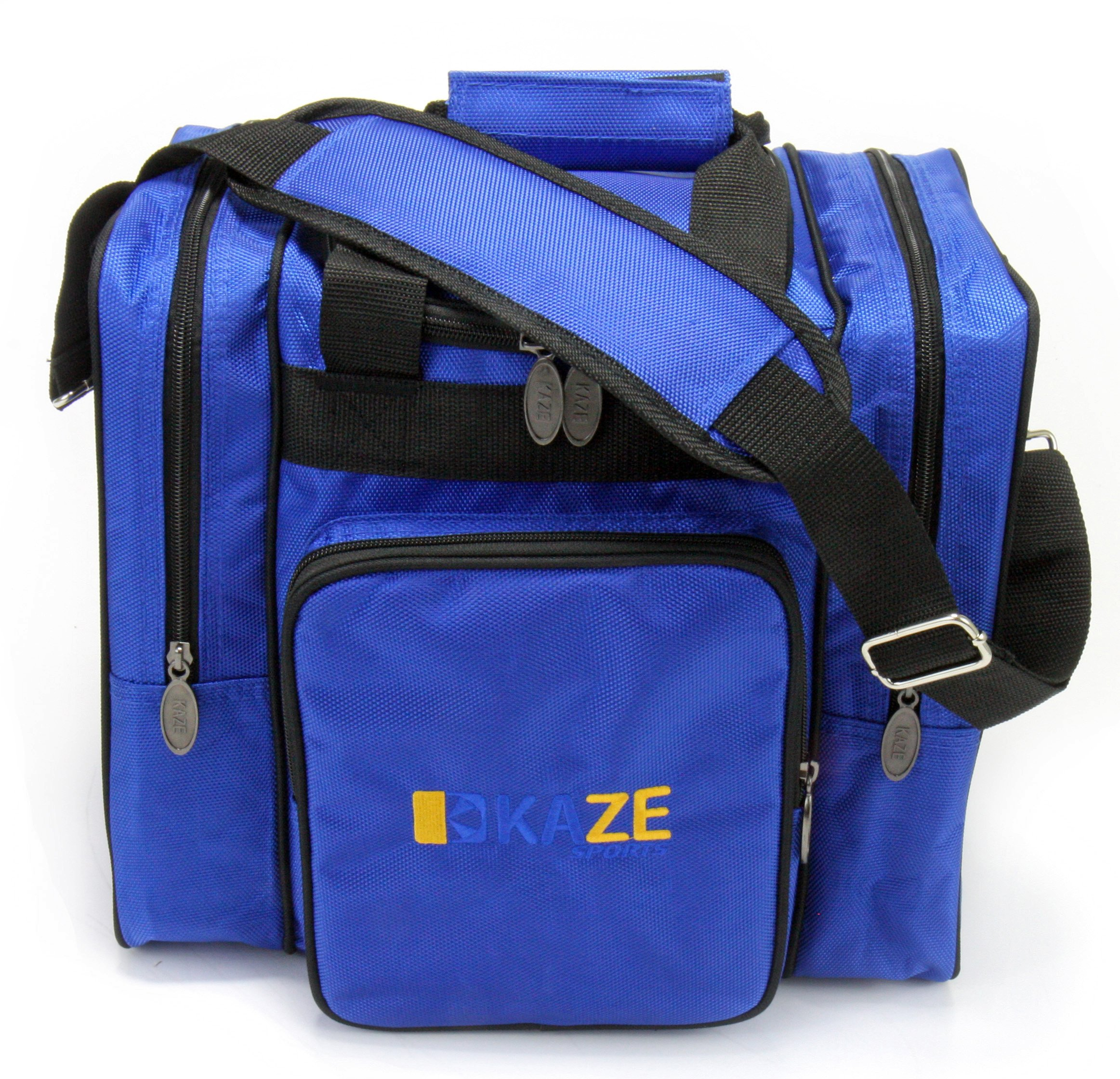 KAZE SPORTS Deluxe 1 Ball Bowling Tote with Two Side Pockets (Blue)