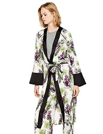 FIND Kimono Long Imprimé Floral Femme, (Black), X-Large