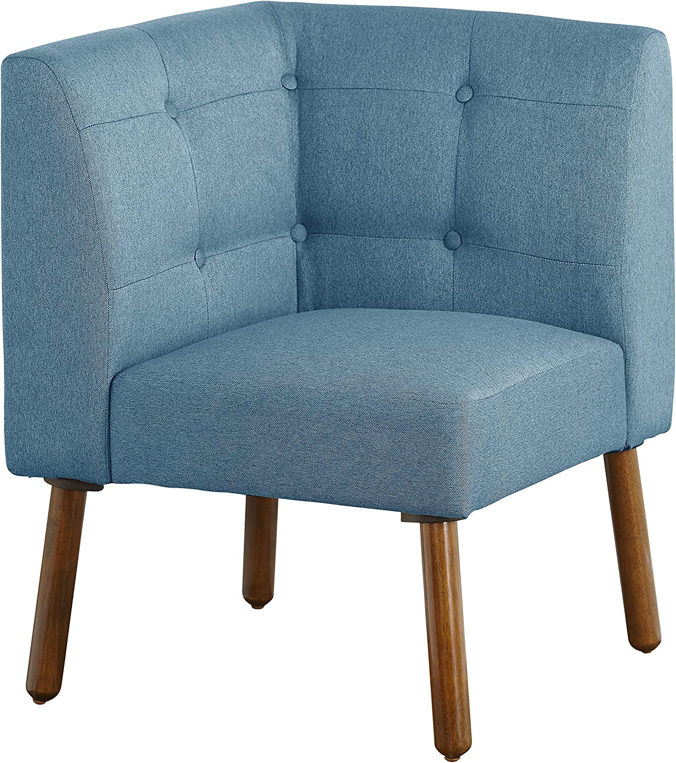 """The Mezzanine Shoppe Playmate Mid Century Fabric Upholstered Tufted Back Corner Chair, 24"""", Blue"""