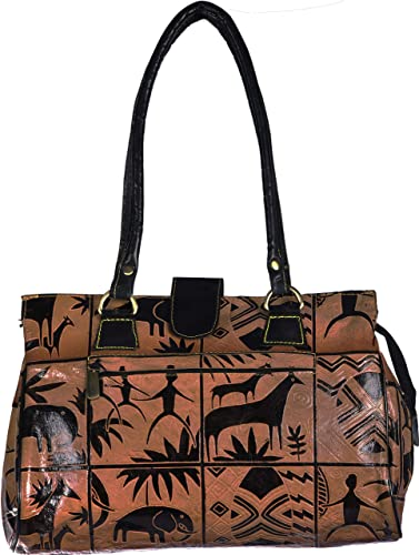 119dbc07c2 Exotic India Women s Leather Shantiniketan Handbag with Folk Print (Sand  Storm)