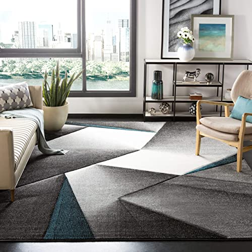 Safavieh Hollywood Collection HLW714D Grey and Teal Mid-Century Modern Abstract Area Rug 4 x 6