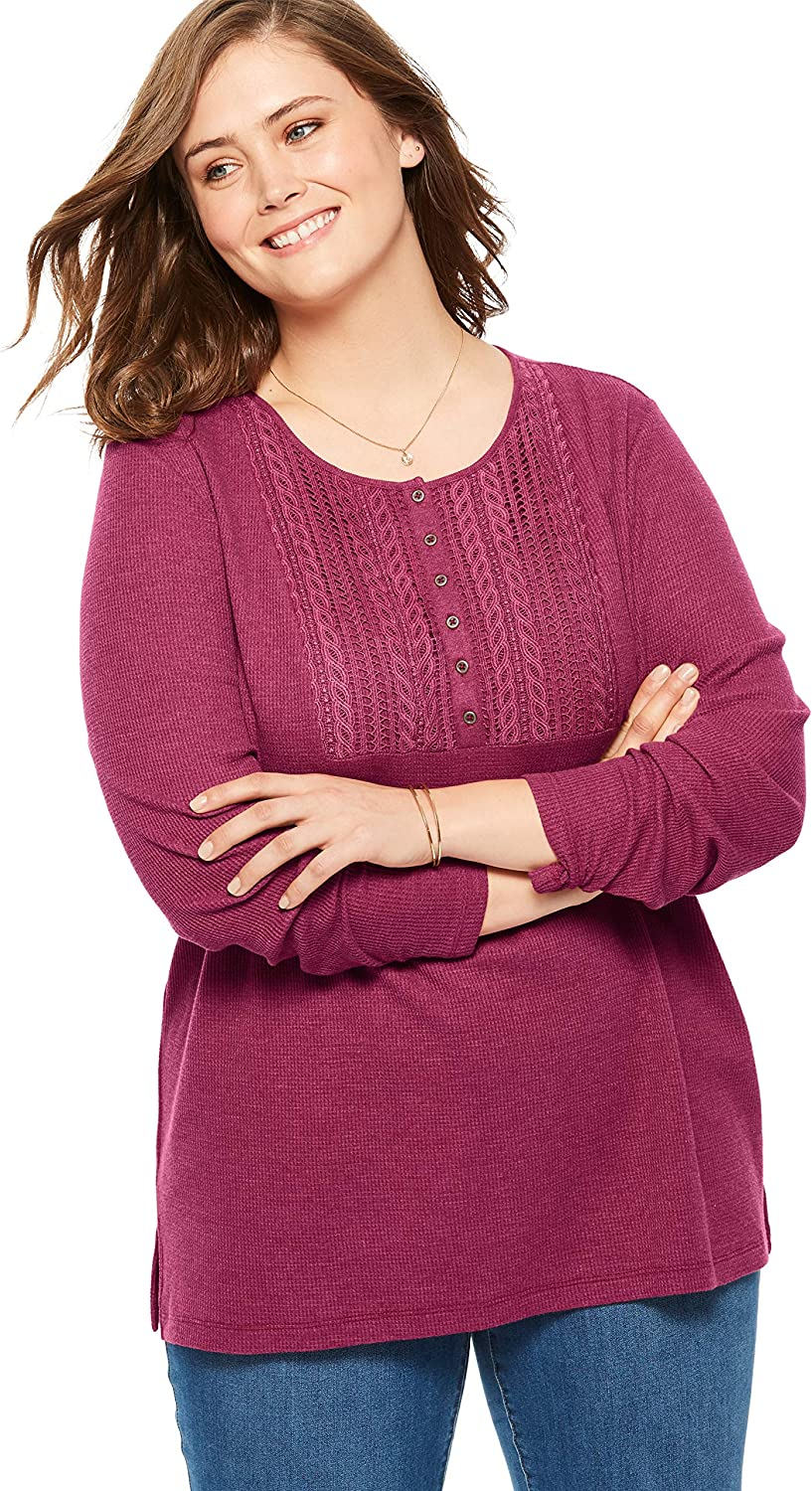 Woman Within Womens Plus Size Washed Thermal Lace Bib Henley Tee Henley Shirt