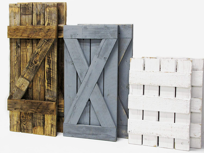 Custom Sized Board and Batten Rustic Window Shutters (set-2) Barn Door Wooden Interior/Exterior Wall Decor Reclaimed Wood 14.5