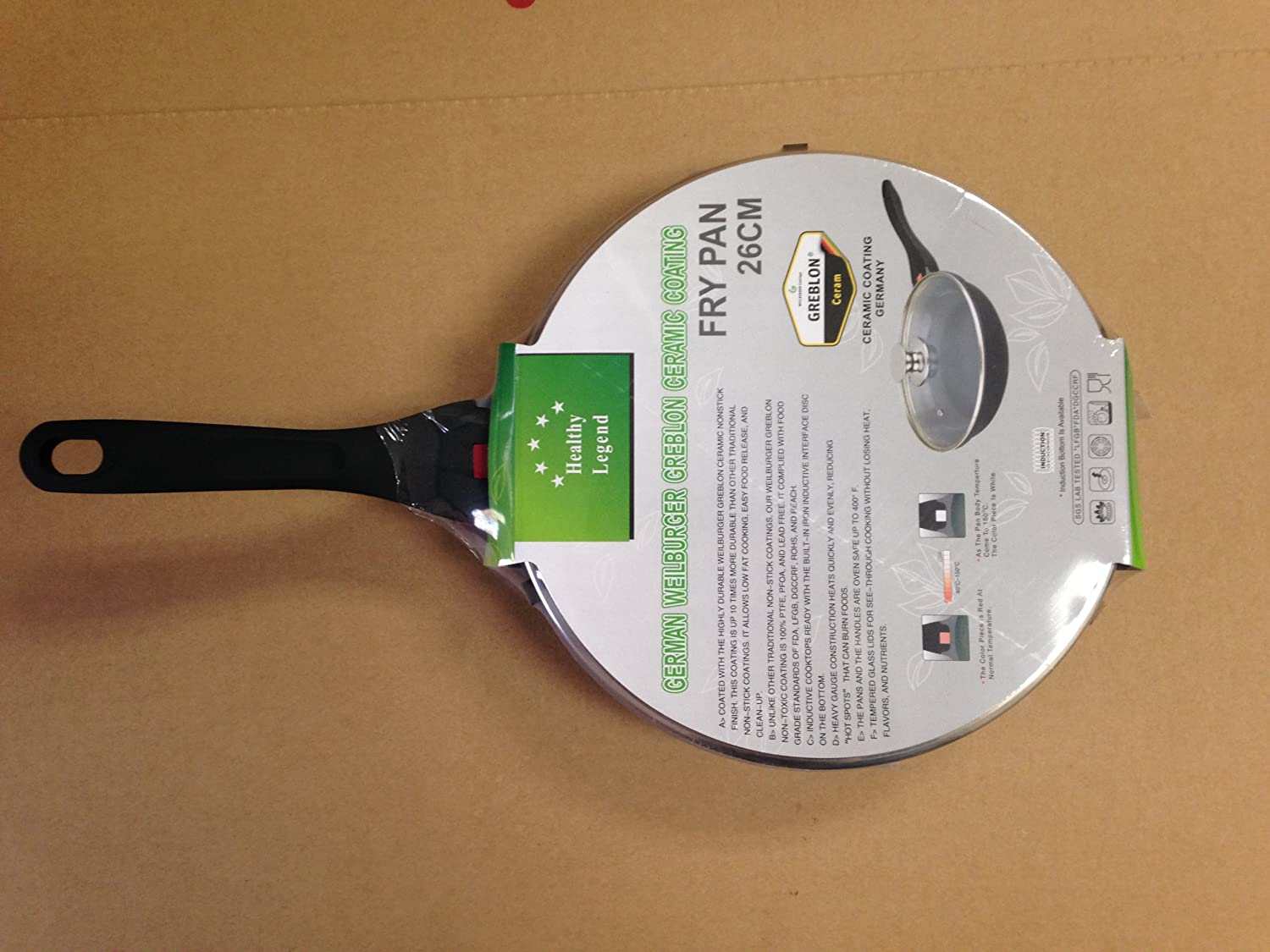 Eco Friendly Non-toxic Cook 26cmflypan 10.4 Fry Pan with Non-stick German Weilburger Ceramic Coating By Healthy Legend