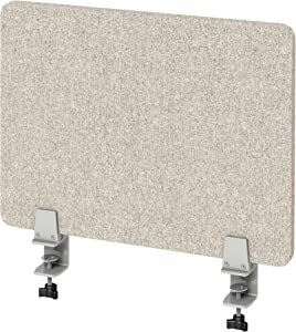 """VaRoom Acoustic Desktop Privacy Divider and Sneeze Guard, 23""""W x 18""""H Sound Absorbing Clamp-on Cubicle Desk Divider Partition Panel in Tan Tackable Fabric"""