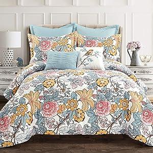 Lush Decor Blue and Yellow Sydney 7-Piece Comforter Set Luxury Bedding (Full/Queen)