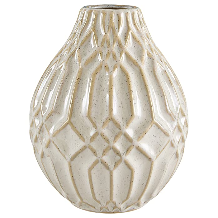 "Stone & Beam Modern Ceramic Vase With Geometric Pattern, 7.7""H, White"