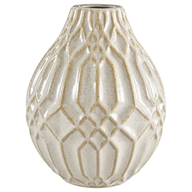 Stone & Beam Modern Decorative Ceramic Vase Decor With Geometric Pattern, 7.7 Inch Height, White