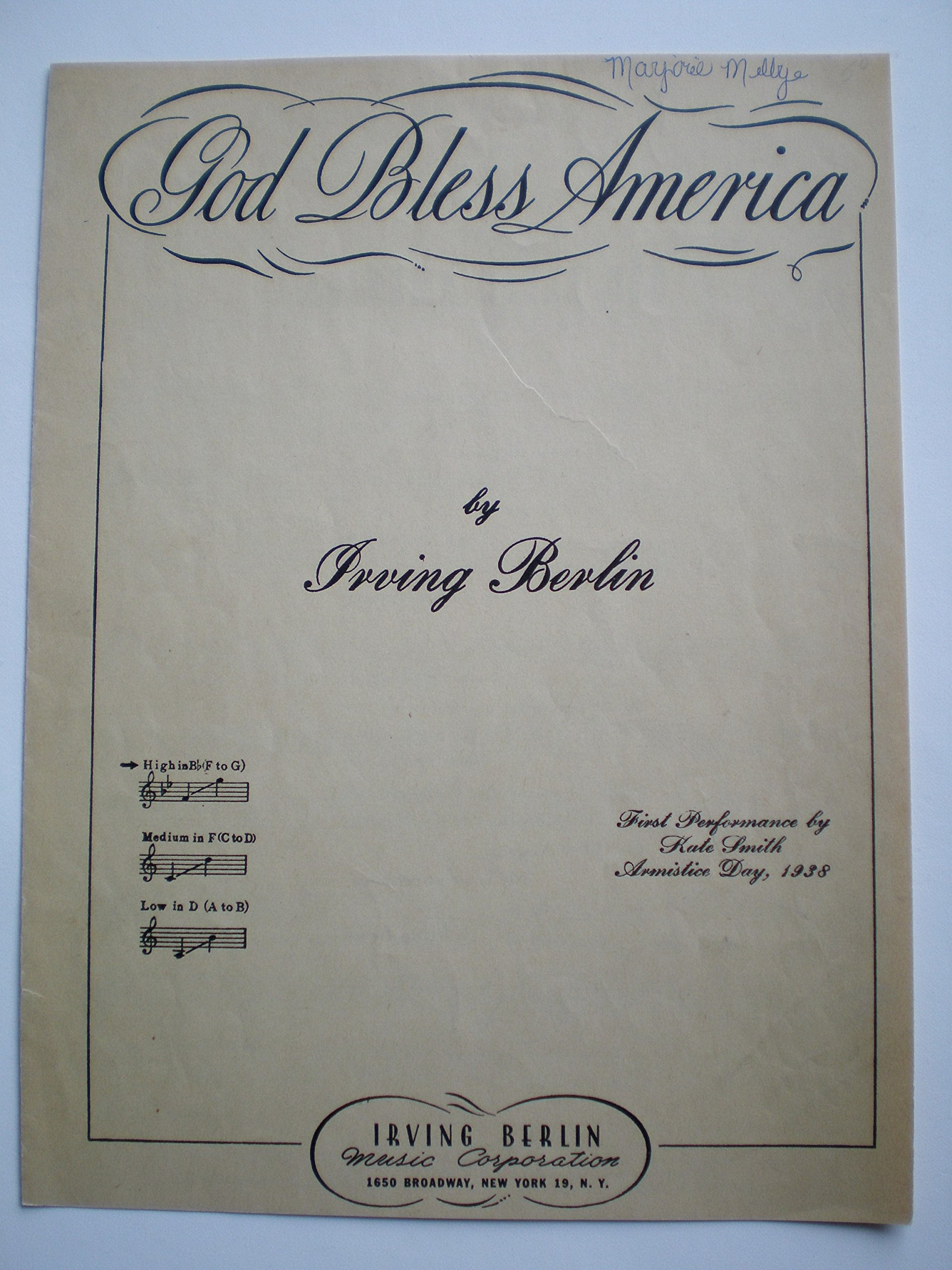 GOD BLESS AMERICA by Irving Berlin. Introduced by Kate Smith, Armistice  Day, 1938: IRVING BERLIN: Amazon.com: Books