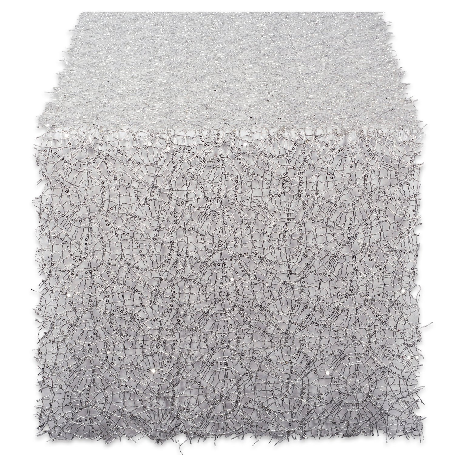 DII Decorative Metallic Sequin Table Runner for Wedding,  Holidays, Occasions, and Everyday Décor, 16x120'', Silver
