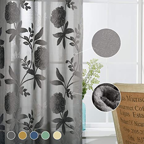 Amazon Com Cherhoo Premium Semi Blackout Floral Embroidered Flocked Curtains For Bedroom Living Room With Large Rust Floral Design Damask Grommet Curtains And Drapes 2 Panels 52w 84 Inch Length Gray Kitchen Dining